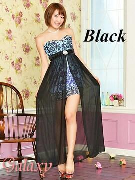 8942★ビジュー装飾*シフォンヴェール付ペルシャ柄インナーミニロングドレス*ブラックM