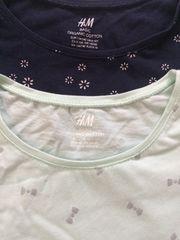 H&M☆小花柄とリボン柄袖ひらひらワンピースSET