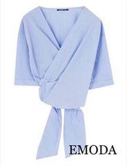 定価5,292円【新品】EMODA 2weyカシュクールストライプシャツ