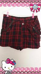 ★大きいサイズ★赤&黒チェック柄★ZIPポケット★スカート風ショーパン★3L★