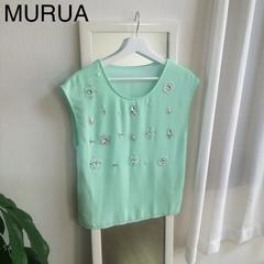 MURUA ビジュー付きシフォントップス