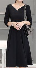 ブラックフォーマル ★七分袖★ひざ丈ワンピース(XLサイズ)