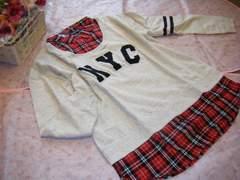 大きいサイズ 3L重ね着風チェックシャツ襟可愛いロゴチュニック☆