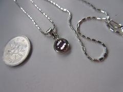 Silver925 クリスタルグラス,pink + 925チェーン37cm n206