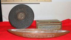 東南アジア木製船模型アワビのような素材小物入れ、円形装飾盤
