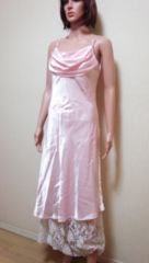 section R☆胸ドレープ&裾レースティアードのドレス☆3点で即落