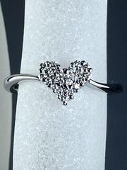 ☆可愛らしい☆ハート型ダイヤモンドリング 0.12ct K18WG 8号☆