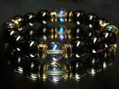 宇宙エネルギー&開運天然石!!ブルーオーラ×ブラックオニキス数珠
