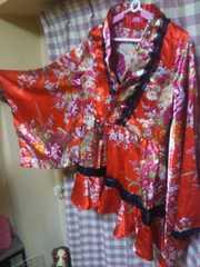 チャイナドレス 袖フリフリ オシャレデザイン レース サイズL位 華やか ステージ衣装に●