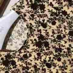 シックな花柄ワンピースベージュ×ブラウン☆ラインがキレイで大人可愛い