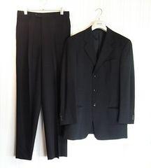 size48☆極美品☆アルマーニ 3釦スーツ ブラック系ストライプ