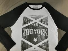 アメカジ【ZOOYORK】NY高層ビル街並みプリントロングT US S白黒