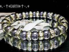 天然石★8ミリ銀色爆裂水晶クラック金色ロンデル数珠