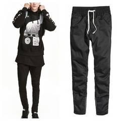 YGG■新品 H&M ツイルジョガーパンツ ジップパンツ 28 黒
