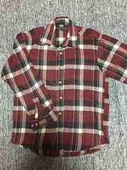メンズ ワインレッド系 あったかチェックシャツ Mサイズ