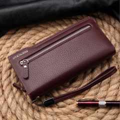 送料無料 多機能長財布 カード入11枚 小銭入 札入有り 茶色