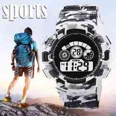 スポーツ腕時計 LED デジタル 腕時計 ミリタリー  白
