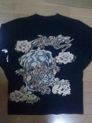 ★USED[さとり]唐獅子牡丹 刺繍&プリント長袖Tシャツ スカジャン好きにも