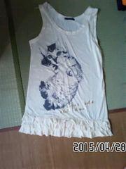 定形外込*ロゴ&ネコプリント裾フリルチュニック