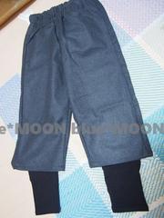 【L】大きいサイズ!ウエスト伸縮*重ね着風裾切り替えワイドパンツ