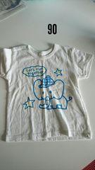 白に青いぞうさん模様の半袖Tシャツ