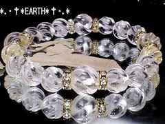 天然石★Sラインツイスト螺旋彫り水晶金色ロンデル数珠