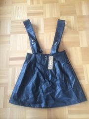 新品タグ付き☆サスペンダー付き合皮スカート☆ブラック