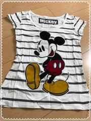 白×薄黒ボーダー/mickey/ミッキー/半袖/Tシャツ/Lサイズ