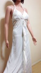 未使用品☆キャバ☆キラ�Aラメ&純白リボンのドレス ☆3点で即落