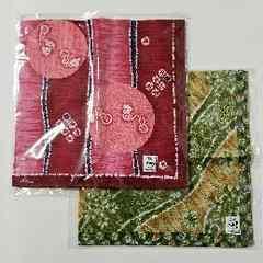 民芸 紬 つむぎ 大判ハンカチ 2柄セット 和柄 緑 赤
