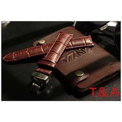 時計ベルト Dバックル カーフ革 クロコダイル型押し20mm 茶色