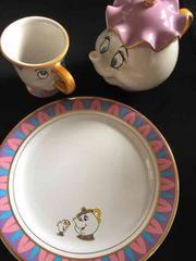 美女と野獣ポット夫人カップ、チップカップ、プレートディズニー