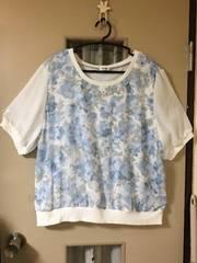 ブラウス 白・水色花柄(4L)