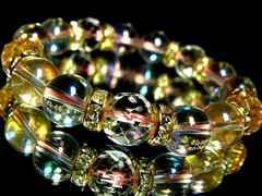 64面カット水晶ピンクオーラ12ミリ金ロンデル数珠