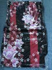 黒地ストライプ花柄浴衣美品