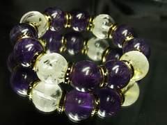 商売繁盛を叶える!!素彫四神獣水晶×アメジスト数珠ブレスレット