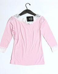 新品〈ホワイト花レース〉ピンク七分袖シャツ(Mサイズ)