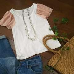 〇KASTANE〇かわいい袖シフォンのTシャツ*・゜美品