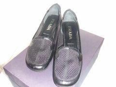 プラダPRADA靴パンプス37黒メッシュ美品中古24ヒール羊皮