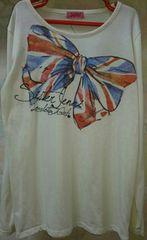 ジェニィ/JENNI☆胸大きなリボン柄 ・長袖Tシャツ/アイボリー・150