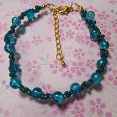 【handmade】エメラルドブルーのブレスレット*アンクレットにも!