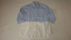 爽やか水色ブルー×白ホワイト麻綿コットン天然素材七分袖シャツ