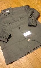 Dickiesディッキーズ長袖ワークシャツ チャコールグレー サイズ2XLXXL 19×33