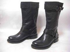 ネイビー/革 3cmヒール エンジニア・ブーツ 36 Italy