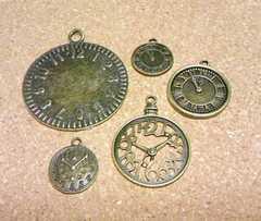 時計チャーム5個金古美