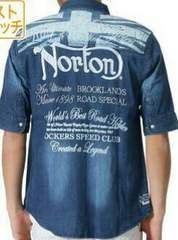 Norton/刺繍/五分袖デニムシャツ/77/72n1501/インディアン