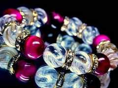 ピンクタイガーアイ§トルネード水晶12ミリ金ロンデル数珠