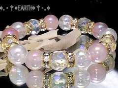 天然石★カット水晶&オーラローズクォーツ&アクアクラック数珠