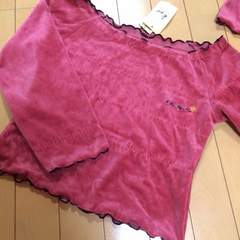 新品◆ベロアトレーナーシャツ◆120〜130ローズピンク