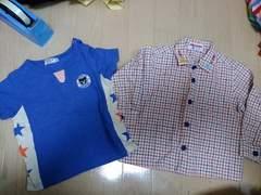 ミキハウス サイズ90 シャツ&ダブルビーTシャツ セットで